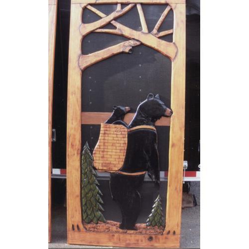 Handmade rustic wooden screen door featuring a bear carrying a cub.