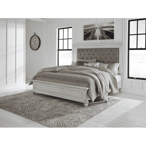 Kanwyn - Whitewash  King Upholstered Bed