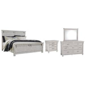 Ashley Furniture - Queen Panel Bed With Mirrored Dresser and Nightstand