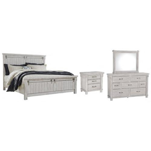 Product Image - Queen Panel Bed With Mirrored Dresser and Nightstand