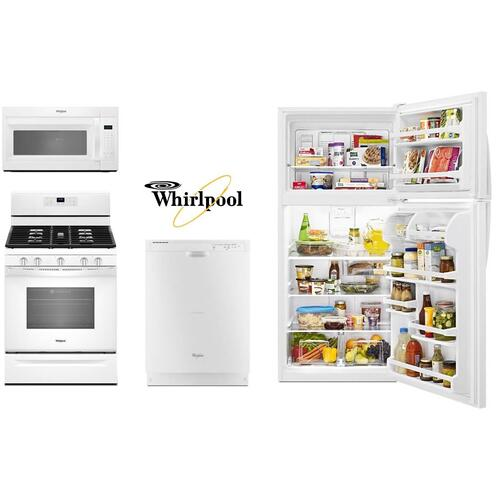 Whirlpool 4 Piece White Kitchen with Top Freezer