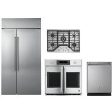 Cafe 4 Piece Kitchen Appliances Package with Side-by-Side Refrigerator and Dishwasher in Stainless Steel