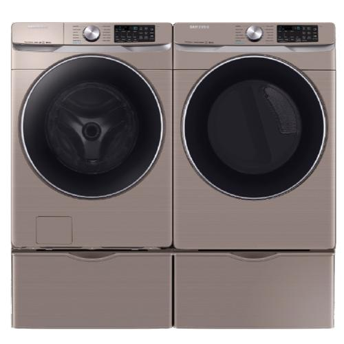SAMSUNG Super Speed 4.5 Cu.Ft. Front Load Washer & 7.5 Cu.Ft. Electric Dryer with Pedestals - Champagne