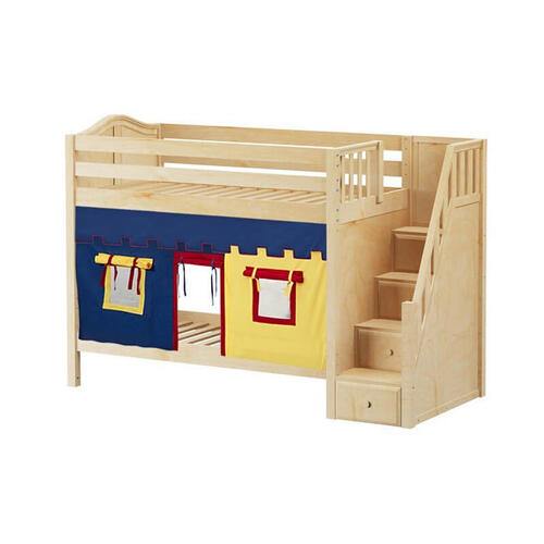 Medium High Bunk Bed with Staircase on End & Curtain In Natural Finish