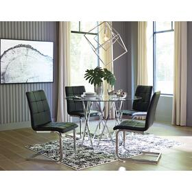 Madanere Table Chrome Finish W/ 4 Black Chairs