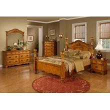 6 PIECE 4 POSTER GOLDEN OAK BEDROOM SET