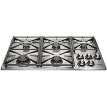 MOD # RGC365S/NG S/N 0047 DISCONTINUED IN A BOX 36 Inch Gas Cooktop with 5 Sealed Burners, Automatic Reignition, Illumina Burner Controls and 2-12 Inch & 1-10 Inch Platform Grates: Stainless Steel/Natural Gas