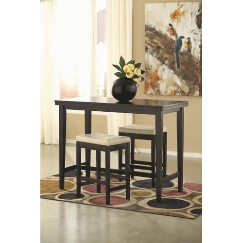 Kimonte - Dark Brown - 3 Pc. - Rectangular Counter Table & 2 Ivory Barstools
