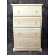 Maine Made 4 Drawer Deep Chest 30W X 48H X 18D Pine Unfinished