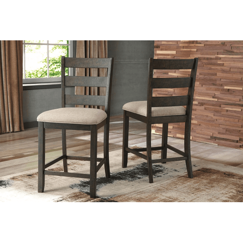 Rokane - Light Brown - 3 Pc. - Rectangular Counter Table with Storage & 2 Upholstered Barstools