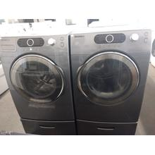 Refurbished  Grey Samsung Front Load Washer Dryer Set On Pedestals Please call store if you would like additional pictures. This set carries our 6 month warranty, MANUFACTURER WARRANTY AND REBATES ARE NOT VALID (Sold only as a set)