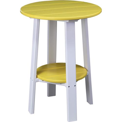 """Deluxe End Table 28"""" Yellow and White"""