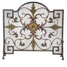 Arched Panel Screen Antique Copper and Patina