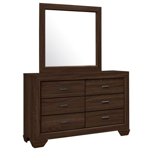 Crown Mark - Farrow Chocolate 6-Drawer Dresser and Mirror Set