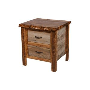 Natural Barn Wood 2 Drawer Nightstand