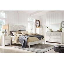 Paxberry- Whitewash- 6pc- Dresser, Mirror, Chest, Nightstand & King Panel Bed