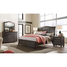King Storage Sleigh Bed Complete Oxford Peppercorn