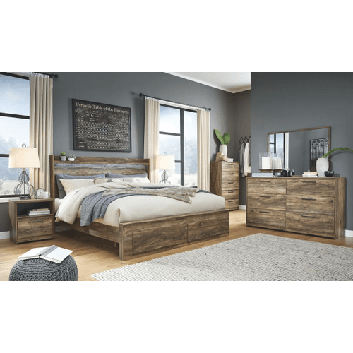 Rusthaven- Brown- Dresser, Mirror, Chest, Nightstand & King Panel Bed with 2 Storage Drawers