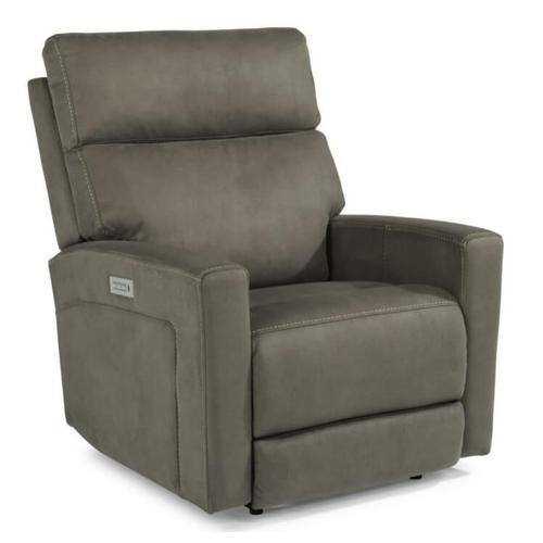 Flexsteel Ezra Fabric Power Recliner w/Adjustable Headrest and Adjustable Lumbar in Stone