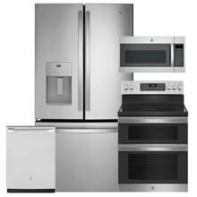 """See Details - GE 25.6 cu. ft. Fingerprint Resistant French-Door Refrigerator & 30"""" Electric Double Oven Convection Range 4 Pc Package- Open Box"""
