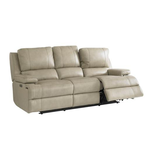 Parsons Flax Leather Power Reclining Sofa with Power Tilt Headrests