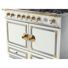 CornuFe 110 Dual Fuel Range -  Pure White with Stainless Steel and Polished Brass Trim
