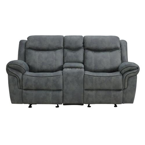 Simmons Upholstery - UNITED 59928-028-1X Sorrento Charcoal Reclining Glider Loveseat