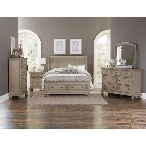 Allegra Qn Storage Bed, Dresser, Mirror and Nightstand