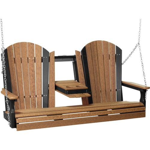 Adirondack Swing 5' Antique Mahogany and Black