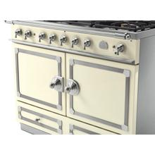 See Details - CornuFe 110 Induction Range - Suzanne Kazler Couleurs - Blanc with Stainless Steel and Satin Chrome Trim