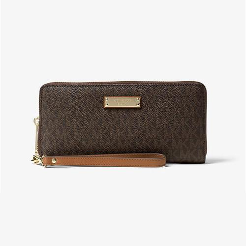 Michael Kors Jet Set Travel Signature Logo Continental Wristlet - Brown - 32S7GTTE9B-200