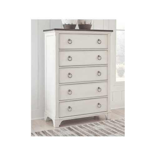 Nashbryn - Whitewash - 7 Pc. - Dresser, Mirror, Chest, Nightstand & Queen Panel Bed