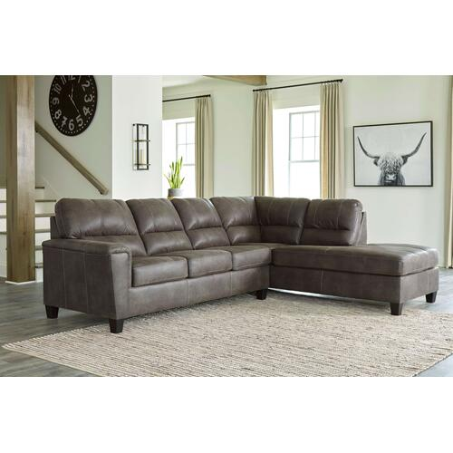 Navi - Smoke - 2-Piece Sofa Sleeper Sectional with Right Chaise