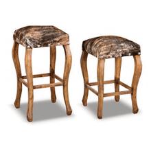 Wood Base Cowhide Barstool