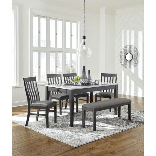 Luvoni - White/Dark Charcoal Gray - 6 Pc. - Rectangular Table, 4 Upholstered Side Chairs & Upholstered Bench