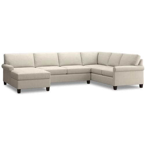 Bassett Furniture - Spencer Left Chaise Sectional - Cream Fabric
