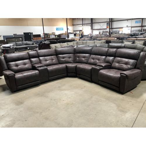 Highlander - Highlander Sectional with three Power Recliners with Power Headrest
