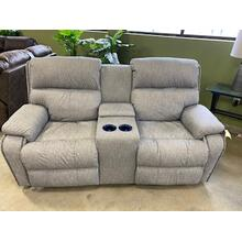 Averett Console Loveseat with Power Headrest and Lumbar in Gray