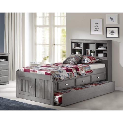 Captain's Bed with 3 Drawers & Trundle - Charcoal