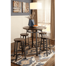 Challiman - Rustic Brown - 5 Pc. - Round Counter Table & 4 Stools
