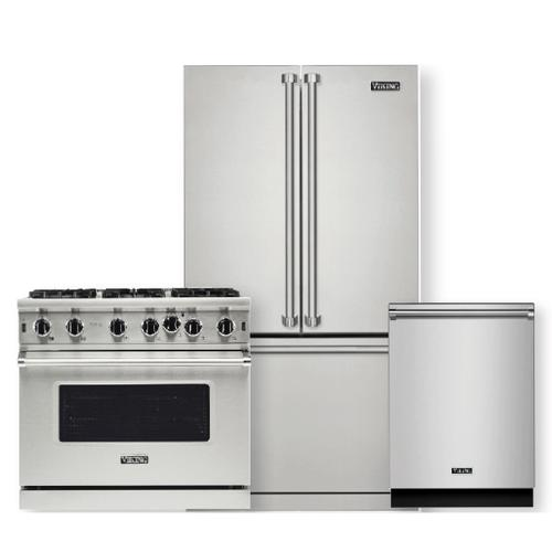 VIKING Professional 5 Series 5.1 Cu. Ft. Freestanding Gas Convection Range w/ 6 Open Burners- 3 piece package