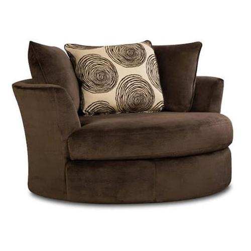 Albany Industries - Groovy Chocolate Swivel Accent Chair