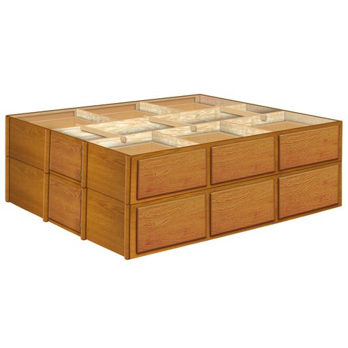 28 Inch Oak 12 Drawer Double Stacked Pedestals Available in King and Queen