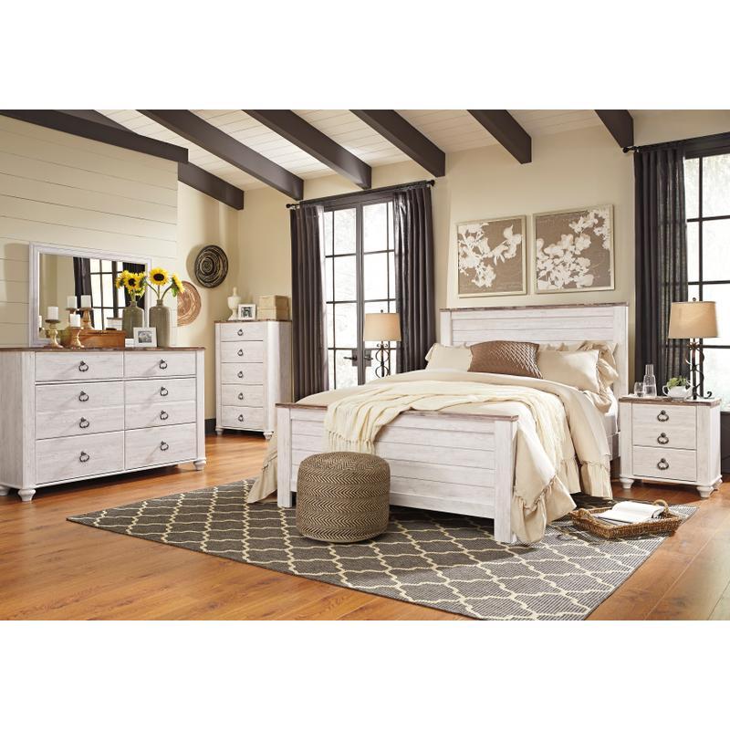 View Product - Willowton - Whitewash 6 Piece Bedroom Set