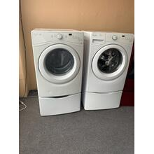 Refurbished White Electric Whirlpool Duet Washer Dryer Set on Pedestals. Please call store if you would like additional pictures. This set carries our 6 month warranty, MANUFACTURER WARRANTY AND REBATES ARE NOT VALID (Sold only as a set)