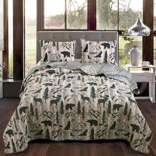 Forest Weave King Quilt Set