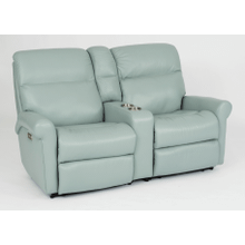 Davis Leather Reclining Console Loveseat