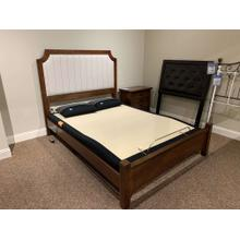 See Details - Cherry & Pinstripe Upholstered Bed