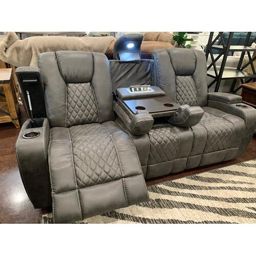 Reclining Sofa with Table and Light- Grey