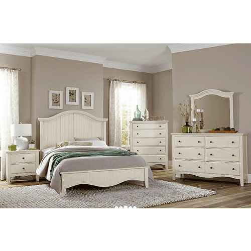 Vaughan-Bassett - CASUAL RETREAT QUEEN 5PC BEDROOM SET in Shell White Finish      (765)